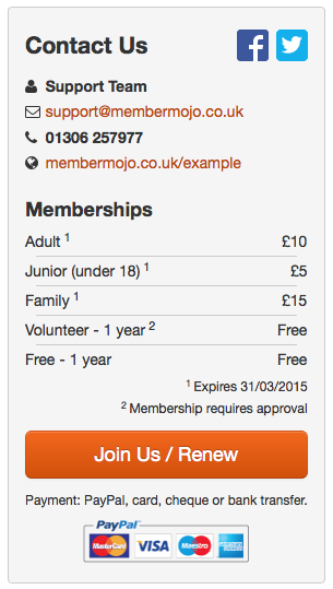 Example Club home page membership panel.