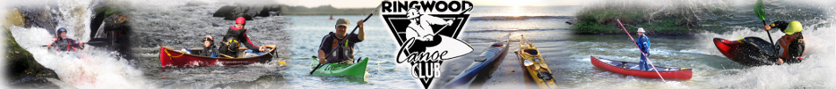 Banner Logo for Ringwood canoe club showing a number of paddlers in different boats